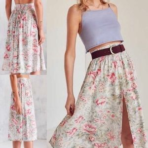 Urban Outfitters Ecoté Floral Midi Button Skirt
